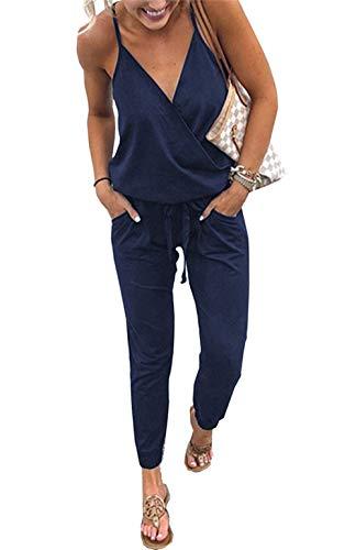 Udgwaz Damen Jumpsuit Sommer Ärmellos V-Ausschnitt Elegant Overall Lang Hosen (Marineblau, X-Large)