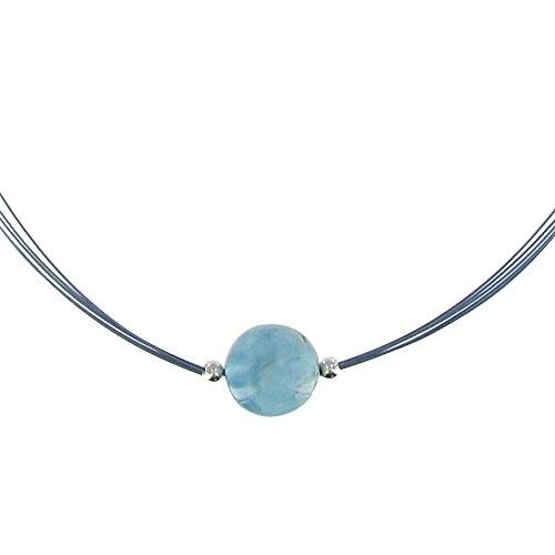 Schmuck Les Poulettes - Halskette Silber mit Einer 13 mm Larimar Perle