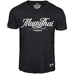 Pulgares Down Muay Tailandés Camiseta Tailandia Patada Boxeo MMA. Gimnasio Entrenamiento. Marcial Artes Informal - Negro, X-Large