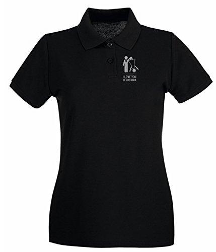 Cotton Island - Polo pour femme MAT0053 Love Up Side Down Maglietta Noir