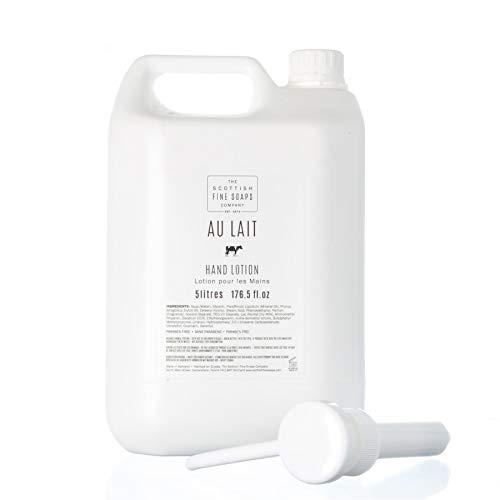 Scottish Fine Soaps Bulk 5L Commercial Au Lait Hand Lotion Refill with Pump Dispenser