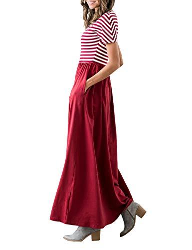 Damen Kleider Marine-Stil Streifen Vintage 50er Matrosenkleid Retro Kleid Rundhals Swing Kleid für Damen Elegante Kleider Rot S