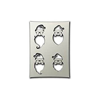 Apex Laser Ltd 4 Hipster Santas Christmas Stencil - A4 Airbrush, Sponging, Aerosol, Pastels, Snowspray