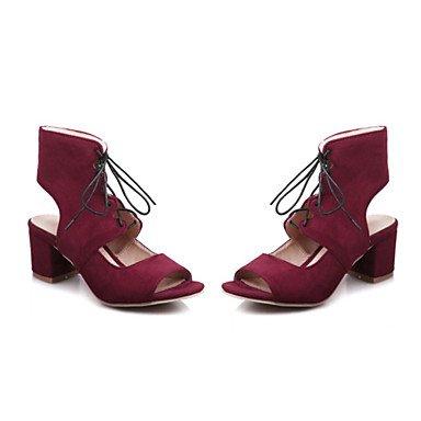 LvYuan Sandali-Formale Casual-Innovativo Club Shoes-Quadrato-Felpato-Nero Giallo Rosso Grigio Yellow