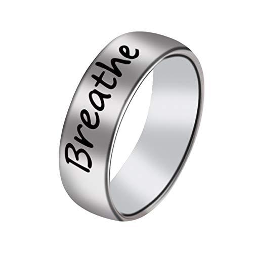 Queenbox edelstahl fingerring schnitzen atmen brief mode für mann frauen schmuck geschenk runde band silber farbe größe 9