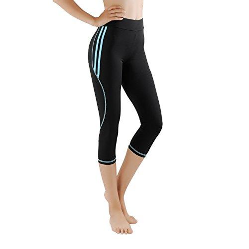 GoVIA Damen Laufhose Training Leggings Caprihose streche Fitness Yoga 3/4 Sporthose 4134 Hellblau L/XL