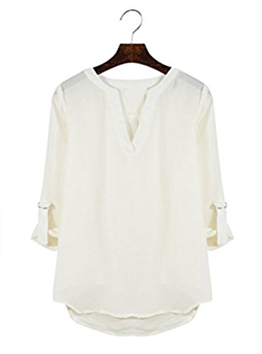 SHUNLIU Damen V-Ausschnitt Chiffon Lose Langarm Strand T-Shirt mit Bündchen Bluse Oberteil Tops Weiß