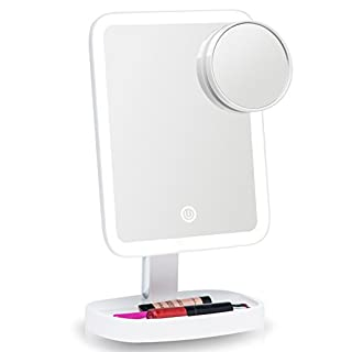 Fancii LED Makeup Vanity Mirror with 3 Light Settings and 15x Magnifying Mirror - Choose between Soft Warm, Natural Daylight, or Neutral White Lights - Dimmable Countertop Cosmetic Mirror (Aura)