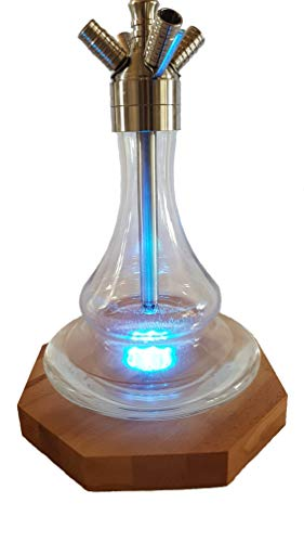 Shisha Untersetzer aus massivem Buchenholz mit LED/RGB Farbwechsel Leuchte inkl. Fernbedienung für Shisha, Glasvasen usw