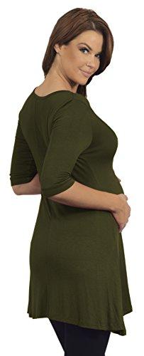 Mesdames Henley Tunique maternité col V à manches 3/4 trapèze coupe de grossesse Martini Olive