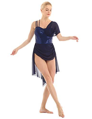 dPois Damen Ärmelloses Ballettkleid Tanzkleid mit Chiffon Rock Pailletten Trikot Tanzkostüm Sportlich für Gymnastik Turnen Training Auftritt Marineblau Small