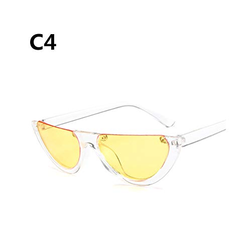 Sportbrillen, Angeln Golfbrille,Cool Trendy Half Frame Rimless Cateye Sunglasses Women NEW Fashion Clear Brand Designer Sun Glasses For Female Oculos De Sol C4