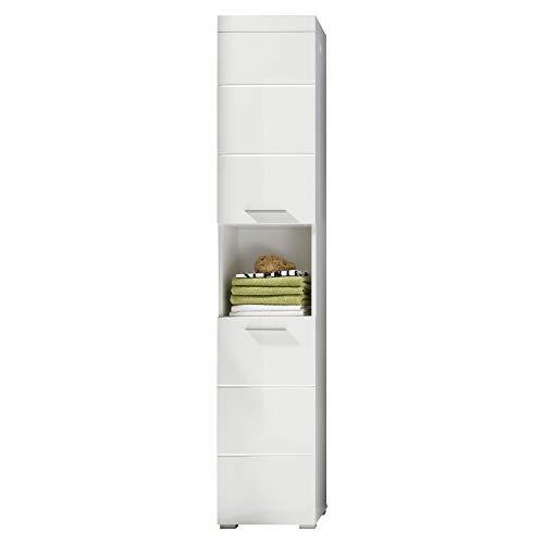 trendteam smart living Badezimmer Hochschrank Schrank Amanda, 37 x 190 x 31 cm in Weiß / Weiß Hochglanz mit offenen Fach