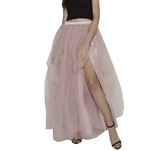 CUTUDE Damen Sommer Unregelmässig Mesh Tulle Tutu Skirt Bridesmaid Princess Skirt Bubble Splice Skirt Hohe Taille Vintage Maxirock Tutu Tüllrock Kuchenrock Chiffonrock (Rosa, Eine Größe) (Günstige Bubble Halskette)