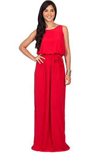 Damen Schickes Ärmellos Rückenfrei Maxikleid Sommer Cocktail Lang Party Abendkleid, Farbe Rot, Größe XL / Extra Large (2) (Plus Size Göttin Kostüme)