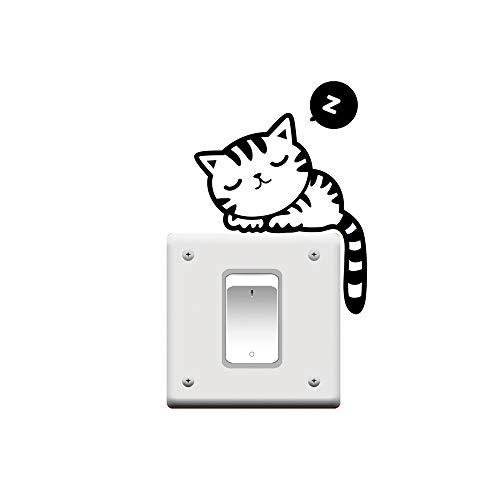 XSM führender Stern billige Mode Nette Schwarze Katze Nickerchen Haustier Lichtschalter lustige Wand Aufkleber Vinyl Aufkleber (Vinyl-wand-aufkleber)