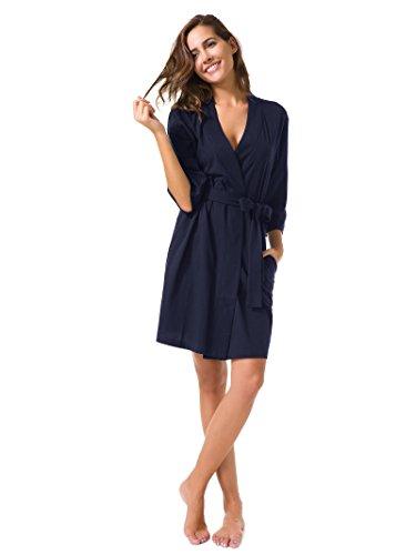 SIORO Donna Kimono Accappatoio Vestaglie scollo a V notte vestaglia camicia da notte Corto Marina
