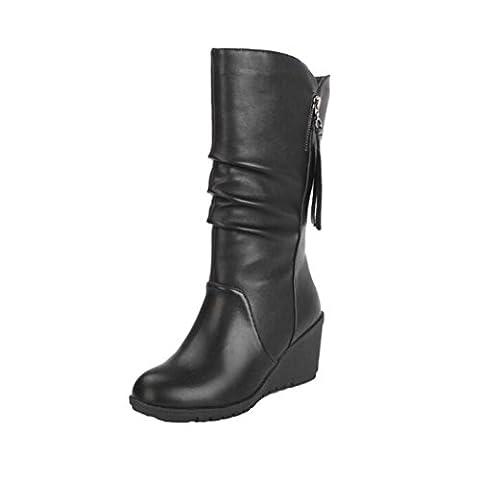 Bottines Compensé Femme Bottes Talon Compensées Talon Haut Bottes Bottines Zipper Rawdah Boots Shoes (38, Noir)