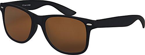 Balinco Original UV400 CAT 3 CE Vintage Unisex Retro Wayfarer Sonnenbrille - verschiedene Farben in Einzel - Doppelpack & Dreierpack wählbar (Einzelpack - Rahmen: Schwarz Matt, Gläser: Braun)