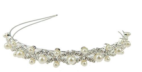Relojes de diamantes brillantes y de perlas de imitación Tiara de la boda nupcial présbite CC