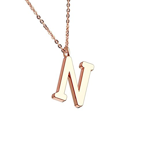 beyoutifulthings Halskette Anhänger BUCHSTABE N INITIALEN Kette Damen-Halskette Schmuck Collier Edelstahl Roségold