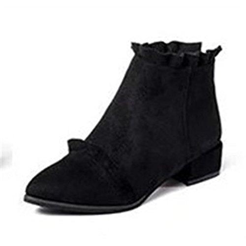 HSXZ Scarpe donna pu inverno cadono combattere Stivali Stivali Chunky tallone punta Babbucce/stivaletti di abbigliamento casual kaki verde grigio nero Gray