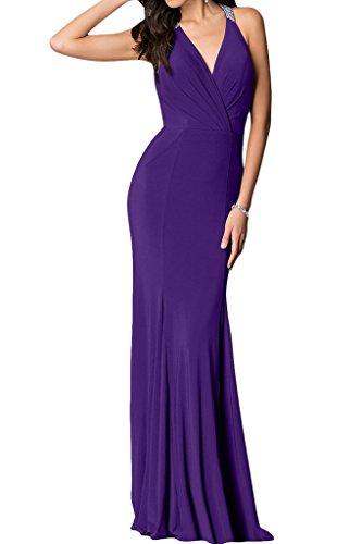 ivyd ressing Femme col V sexuellement Long Party robe mousseline Prom robe robe du soir Violet - Violet