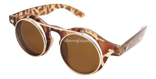 Leopard Steampunk Brille, Party Flip Up Rund Klar Objektiv Sonnenbrille Lady Gaga