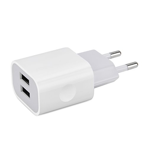 Elinker USB Ladegerät 3.1A (Jeweils 2*2A) USB Ladeadapter 2 Ports für Apple iPhone7 7 Plus 6S 6 6 Plus 5S 5 5S, iPad Air iPod Samsung Galaxy HTC M9, Andriod, Motorola, LG und Mehr (Weiß)