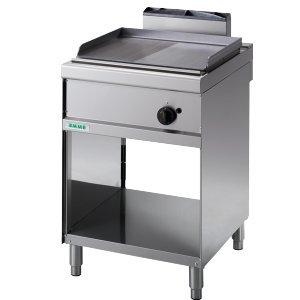 Fimel – Fry-Top à gaz avec plaque demi lisse/rayures en acier inoxydable professionnelle Mesure L.60 x P.70 x H90 cm