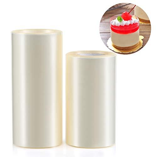 GWHOLE Rollo de Acetato Transparente para Decoración de Repostería Pasteleria Chocolate Mousse   Especificaciones:   -Cantidad: 2 Rollos  -Longitud de cada rollo: 10M  -Ancho de rollo: 1 x 8 cm, 1 x 10 cm  -Material: PP  El Paquete Incluye: 1 x roll...