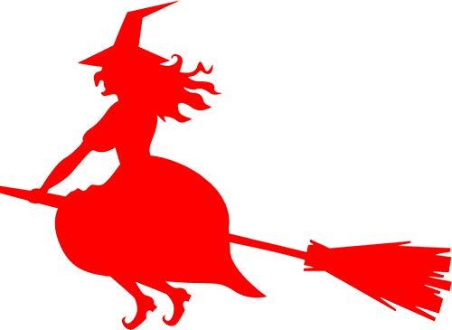 t Farbe Rot - Auto Aufkleber Hexe -Links- auf Besen im Anflug Halloween Sticker Motorrad Bike Biker ()