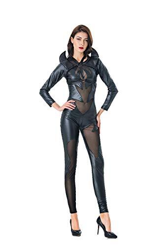 Dämon Weiblicher Kostüm - Hahad Halloween-Kostüm, Cosplay-Kostüm, weiblicher schwarzer sexy PVC-Dämon-Overall, Dienstparty-Nachtclub-Bar Cosplay-Leder-Overall