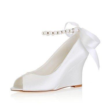 Wuyulunbi@ Scarpe donna raso elasticizzato Primavera Estate della pompa base di nozze cuneo scarpe tacco Peep toe Crystal perla per il ricevimento di nozze e la sera. Un