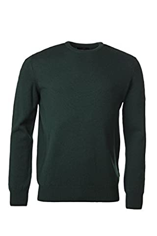 Great and British Knitwear Men's 100% Lambswool Plain Crew Neck Jumper. Made In Scotland-Tartan Green-Small