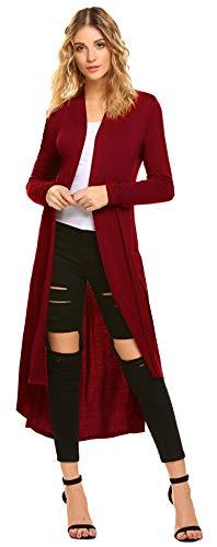 Damen lange Strickjacke Leichte Baumwolle Cardigan Elegant Blazer Rot XXL