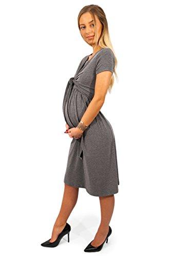 sofsy Robe de Maternité Robe Allaitement Ouverture Frontale Mélange Viscose Douce Mode Charcoal 4 - Large