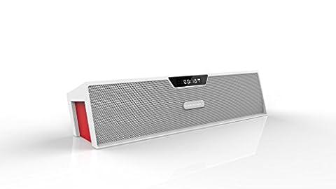 LESHP Enceinte Portable sans Fil Haut-parleur Stéréo Portatif Bluetooth FM Radio affichage LED radio-réveil soutien TF carte et entrée USB 8 heures Durable de jeu appui MP3 fichiers audio au format WAV WMA APE FLAC (Blanc)