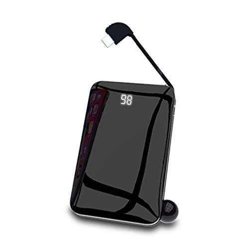 Caricabatterie Wireless,Mini Mobile Portatile Wireless ad alta Capacità 10000mAh con Display di Alimentazione a LED e Pannello di Vetro,Compatibile con la Maggior Parte dei Dispositivi, Black