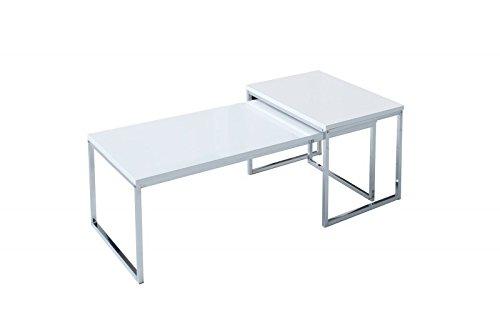 DuNord Design Couchtisch weiß modern Beistelltisch STAGE LONG 2er Set chrom Design Tisch Set -