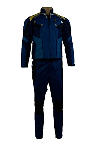 Elecos Star Trek Beyond captain James T. Kirk Uniform Kostüm Karneval Halloween Set Herren Blau XXL