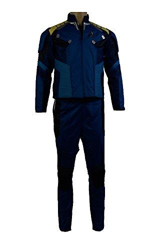 Elecos Star Trek Beyond captain James T. Kirk Uniform Kostüm Karneval Halloween Set Herren Blau XXL