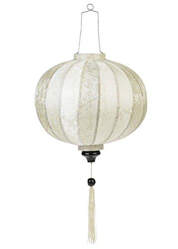 Terrapain Trading Vietnamesische orientalische Seide & Bambus handgefertigte Laterne Lampe chinesische weiße 20