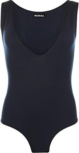 WearAll - Femme V-cou manches Plaine stretch Léotard Haut Vest Combinaison - Combinaison - Femmes - Tailles 36-42 Bleu Marine