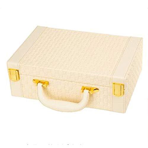 ZXKS Boîte à Bijoux tissée Plat rectangulaire en Cuir Composite Cadre Bijoux Sac de Rangement Cadeau de Vacances,Beige