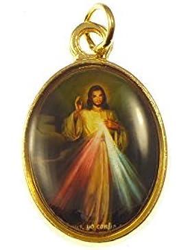 Katholische Rosenkranz Medaille - Barmherzigkeit Gottes Bild - goldene Farbe Metall 20mm [Schmuck]