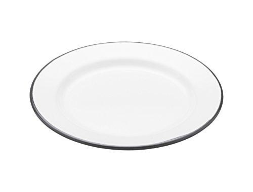 Kitchen Craft Assiette Living Nostalgia de Petit déjeuner en émail, 24 cm, Émail, Blanc/Gris, 20 cm (8 inches)