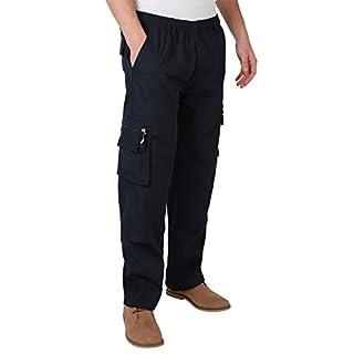 KRISP Männer Praktische Cargohose Gummizug Seitliche Taschen (Marineblau, Gr.M) (7918-NVY-M)