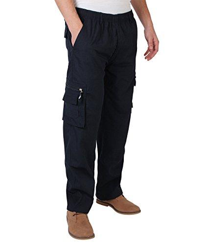 7918-NVY-M: Männer Praktische Cargohose Gummizug Seitliche Taschen (Marineblau, Gr.M)