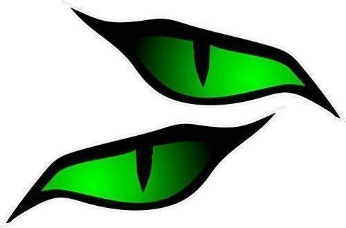 Coppia di occhi greci Verde vinile auto-adesivi Casco da moto, adesiva, dimensioni 70 x 30 mm